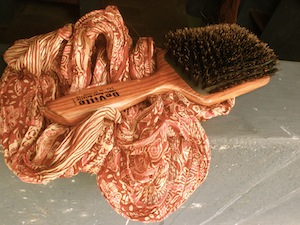 boar hair bristle brush, brushing my hair, brushing or combing